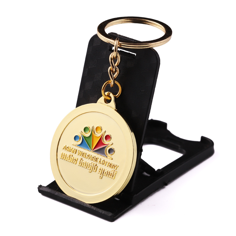 Cheap Home Custom Keyring with Trolley Coin Gold
