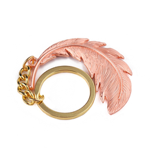 Wholesale Feather Beauty Shape Custom Cast Metal Keychains for Girls