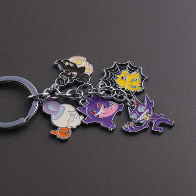 Round Animal Anime Pin Metal Enamel Keychain Gift Metal Badge
