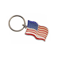 New Arrival Custom Enamel American Flag Metal Keychains with Epoxy