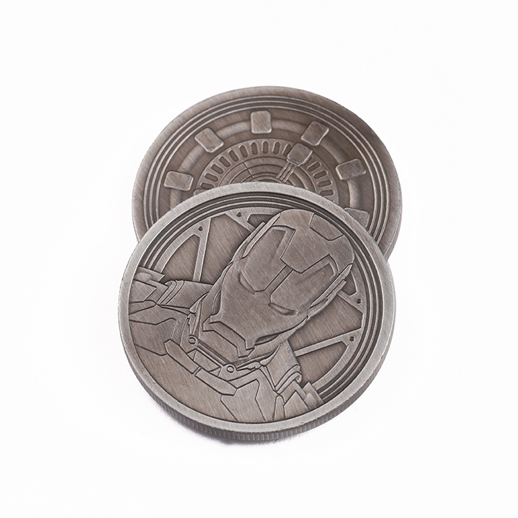 Marvel Iron Man Antique Bronze Plating Decorative Copper Coins Black Coin