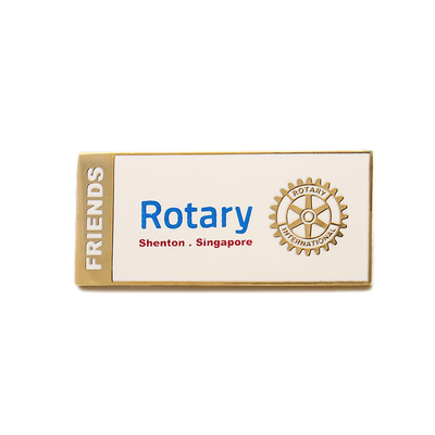 Rotary Golden Square Button Rectangular Metal Aluminum Pin Badge